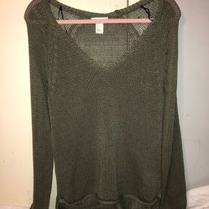 HM CABLE KNIT ARMY GREEN SWEATER S